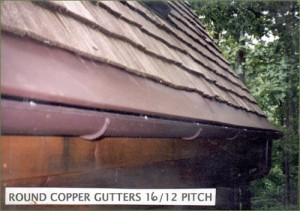 LeavesOut Gutter Cover on Round Copper Gutter